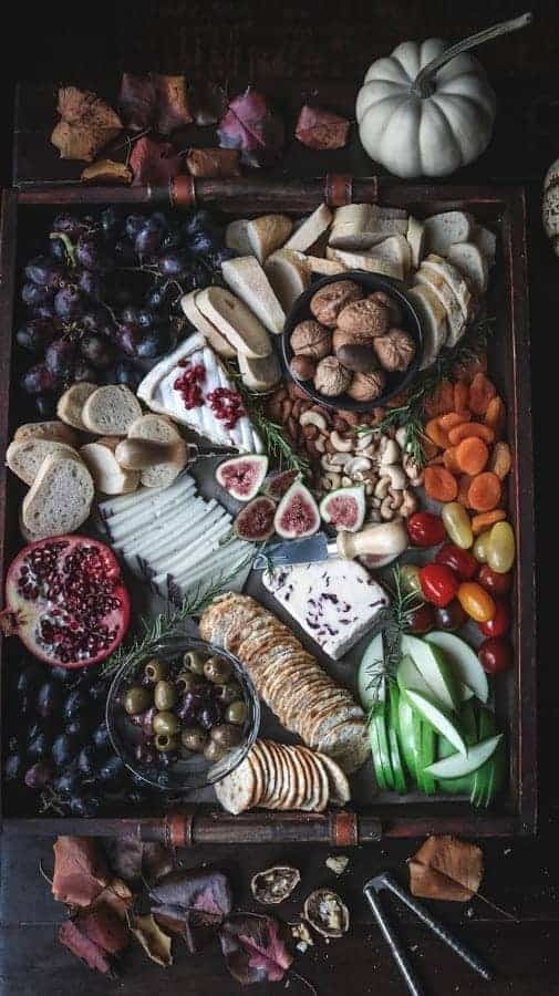 A cheese board perfect for a Thanksgiving appetizer