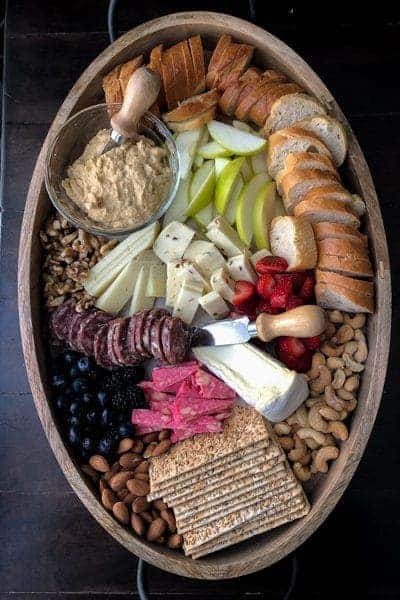 Cheese board with hummus