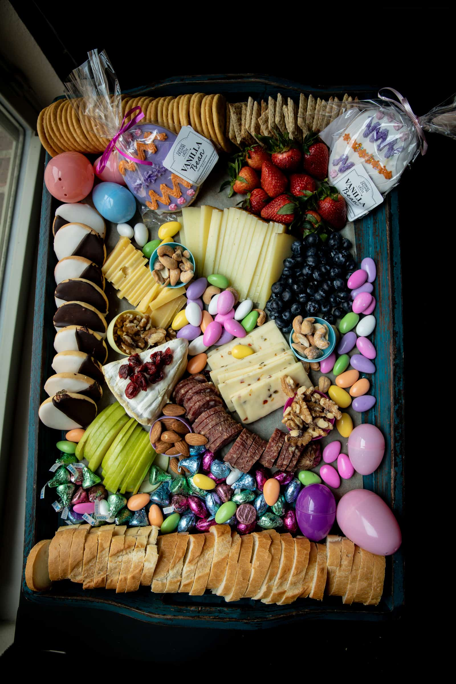 Wide shot of entire easter cheese board